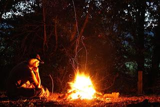 Mike at the Campfire - photo by Mike Gilpin and Benjamin Akira Tallamy